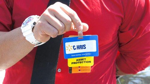 Chris showed his Walmart badge to no effect. Photo Eva