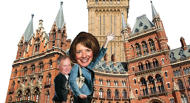 Davis's free jaunt to England included a stay at the Saint Pancras Hotel with her husband.