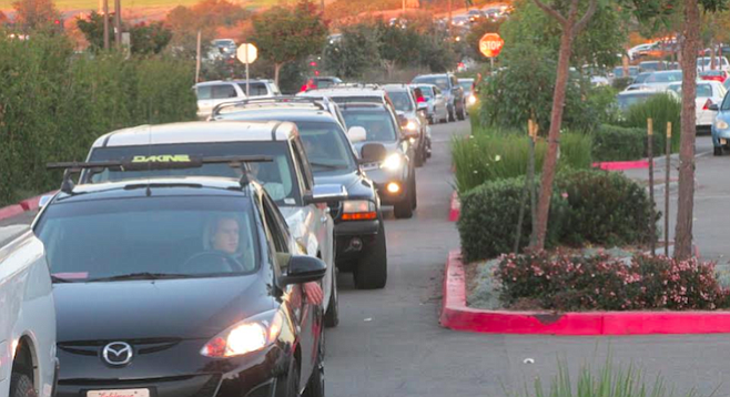 Carlsbad police said traffic was backed up to the Palomar Airport Road exit off I-5.